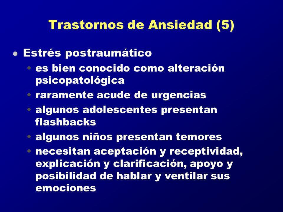 Trastornos de Ansiedad (5) l Estrés postraumático es bien conocido como alteración psicopatológica raramente acude de urgencias algunos adolescentes p