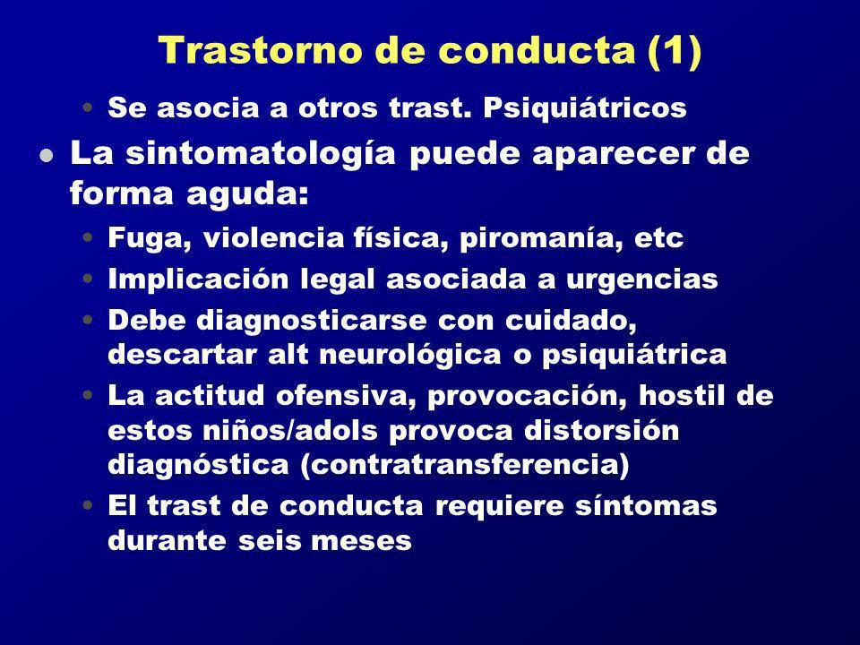 Trastorno de conducta (1) Se asocia a otros trast. Psiquiátricos l La sintomatología puede aparecer de forma aguda: Fuga, violencia física, piromanía,