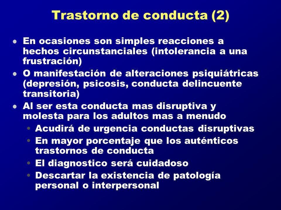 Trastorno de conducta (2) l En ocasiones son simples reacciones a hechos circunstanciales (intolerancia a una frustración) l O manifestación de altera