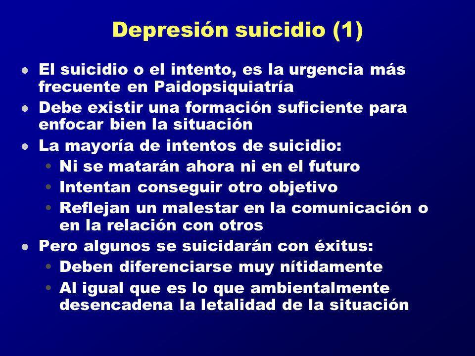 Depresión suicidio (1) l El suicidio o el intento, es la urgencia más frecuente en Paidopsiquiatría l Debe existir una formación suficiente para enfoc