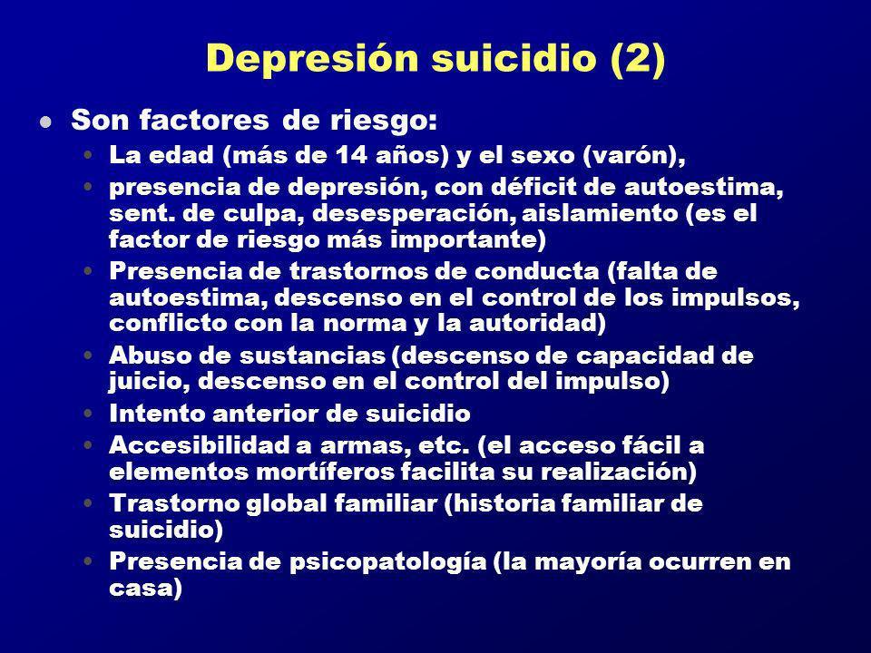 Depresión suicidio (2) l Son factores de riesgo: La edad (más de 14 años) y el sexo (varón), presencia de depresión, con déficit de autoestima, sent.