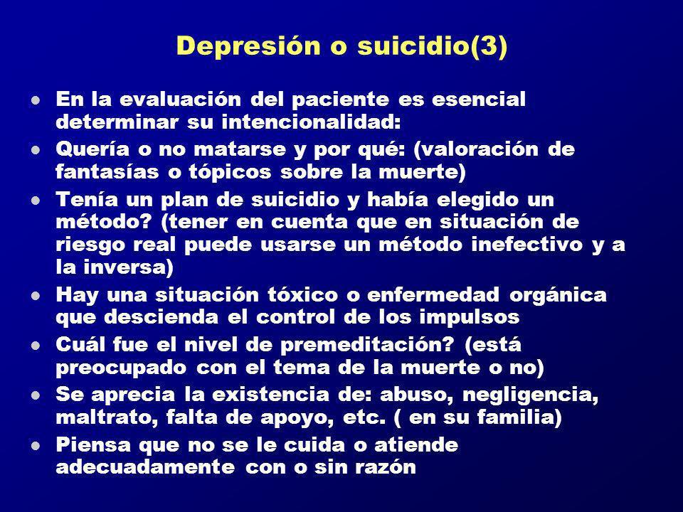 Depresión o suicidio(3) l En la evaluación del paciente es esencial determinar su intencionalidad: l Quería o no matarse y por qué: (valoración de fan