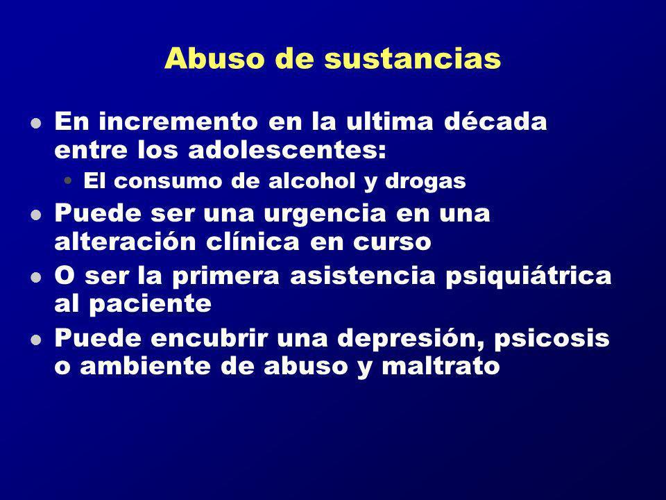 Abuso de sustancias l En incremento en la ultima década entre los adolescentes: El consumo de alcohol y drogas l Puede ser una urgencia en una alterac