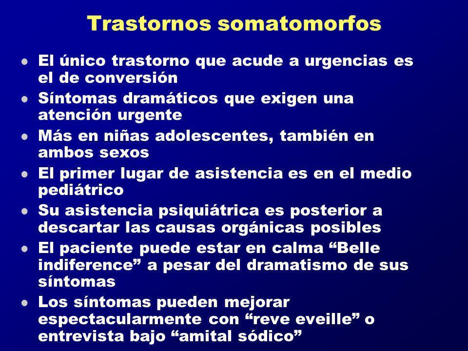 Trastornos somatomorfos l El único trastorno que acude a urgencias es el de conversión l Síntomas dramáticos que exigen una atención urgente l Más en