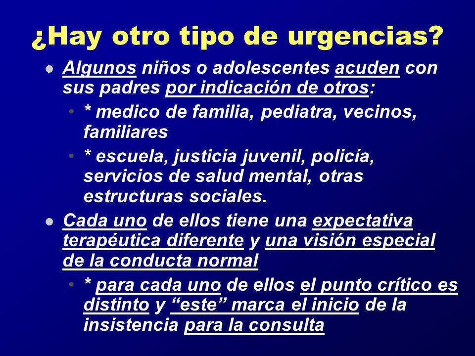 ¿Hay otro tipo de urgencias? l Algunos niños o adolescentes acuden con sus padres por indicación de otros: * medico de familia, pediatra, vecinos, fam