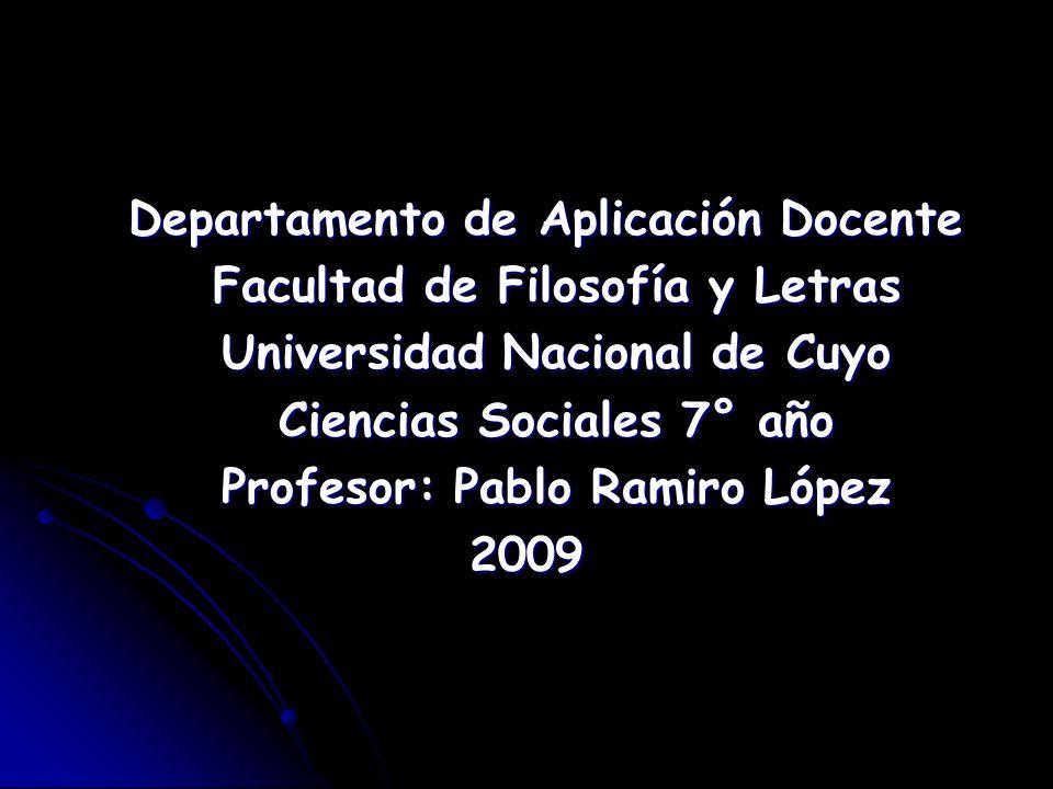 Departamento de Aplicación Docente Departamento de Aplicación Docente Facultad de Filosofía y Letras Facultad de Filosofía y Letras Universidad Nacion