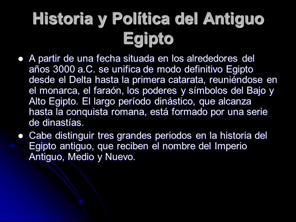 Historia y Política del Antiguo Egipto A partir de una fecha situada en los alrededores del años 3000 a.C. se unifica de modo definitivo Egipto desde