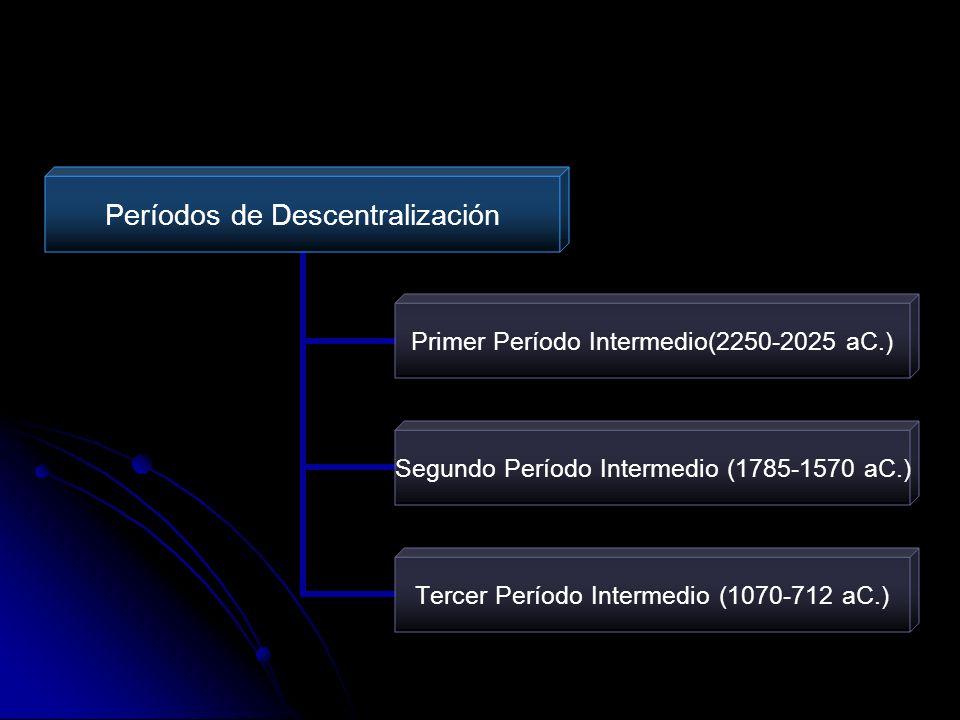 Períodos de Descentralización Primer Período Intermedio(2250- 2025 aC.) Segundo Período Intermedio (1785- 1570 aC.) Tercer Período Intermedio (1070- 7