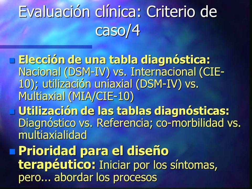Evaluación clínica: Criterio de caso/4 n Elección de una tabla diagnóstica: Nacional (DSM-IV) vs. Internacional (CIE- 10); utilización uniaxial (DSM-I