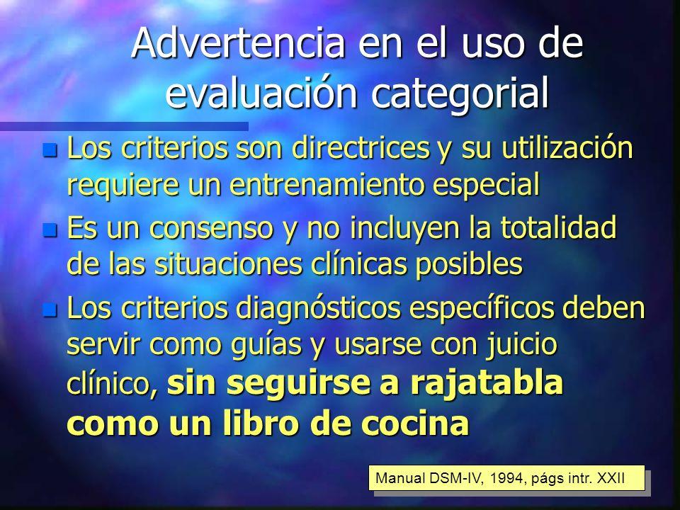 Advertencia en el uso de evaluación categorial n Los criterios son directrices y su utilización requiere un entrenamiento especial n Es un consenso y