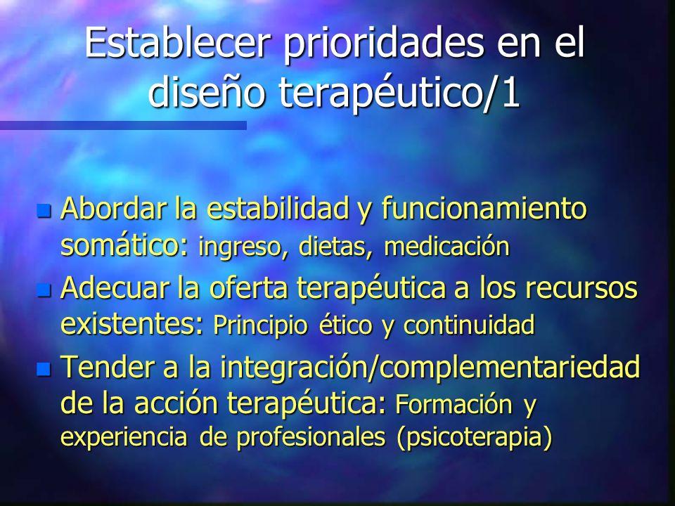 Establecer prioridades en el diseño terapéutico/1 n Abordar la estabilidad y funcionamiento somático: ingreso, dietas, medicación n Adecuar la oferta