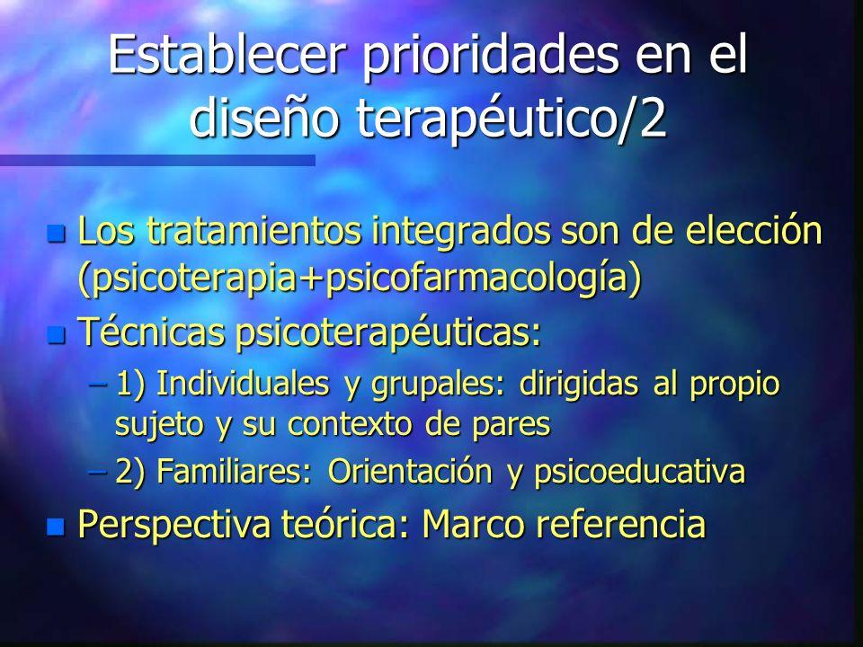 Establecer prioridades en el diseño terapéutico/2 n Los tratamientos integrados son de elección (psicoterapia+psicofarmacología) n Técnicas psicoterap
