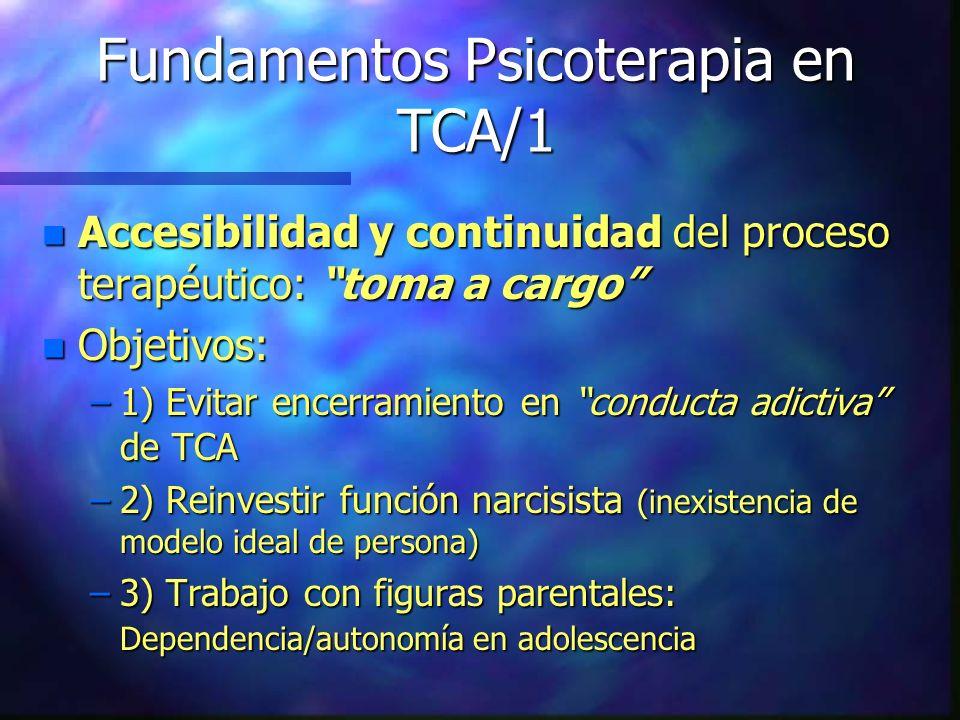 Fundamentos Psicoterapia en TCA/1 n Accesibilidad y continuidad del proceso terapéutico: toma a cargo n Objetivos: –1) Evitar encerramiento en conduct
