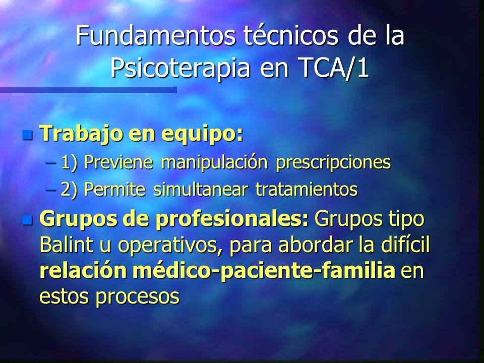 Fundamentos técnicos de la Psicoterapia en TCA/1 n Trabajo en equipo: –1) Previene manipulación prescripciones –2) Permite simultanear tratamientos n