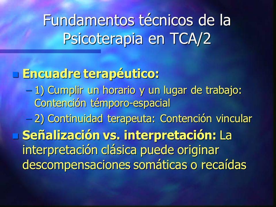 Fundamentos técnicos de la Psicoterapia en TCA/2 n Encuadre terapéutico: –1) Cumplir un horario y un lugar de trabajo: Contención témporo-espacial –2)