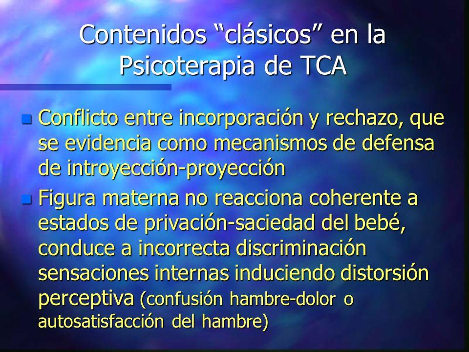 Contenidos clásicos en la Psicoterapia de TCA n Conflicto entre incorporación y rechazo, que se evidencia como mecanismos de defensa de introyección-p