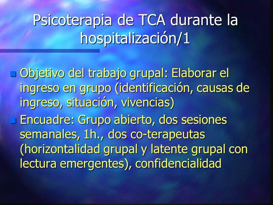 Psicoterapia de TCA durante la hospitalización/1 n Objetivo del trabajo grupal: Elaborar el ingreso en grupo (identificación, causas de ingreso, situa