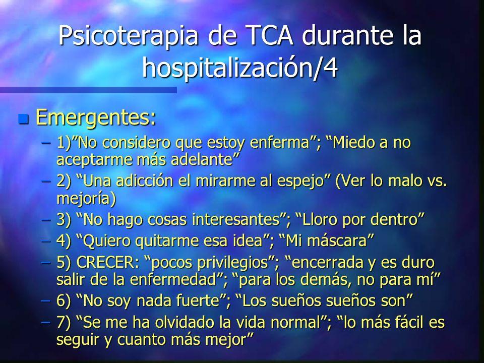 Psicoterapia de TCA durante la hospitalización/4 n Emergentes: –1)No considero que estoy enferma; Miedo a no aceptarme más adelante –2) Una adicción e