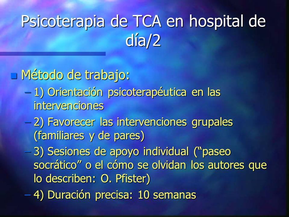 Psicoterapia de TCA en hospital de día/2 n Método de trabajo: –1) Orientación psicoterapéutica en las intervenciones –2) Favorecer las intervenciones