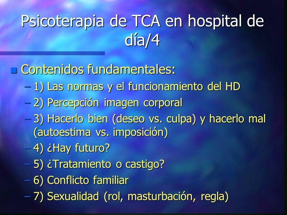 Psicoterapia de TCA en hospital de día/4 n Contenidos fundamentales: –1) Las normas y el funcionamiento del HD –2) Percepción imagen corporal –3) Hace