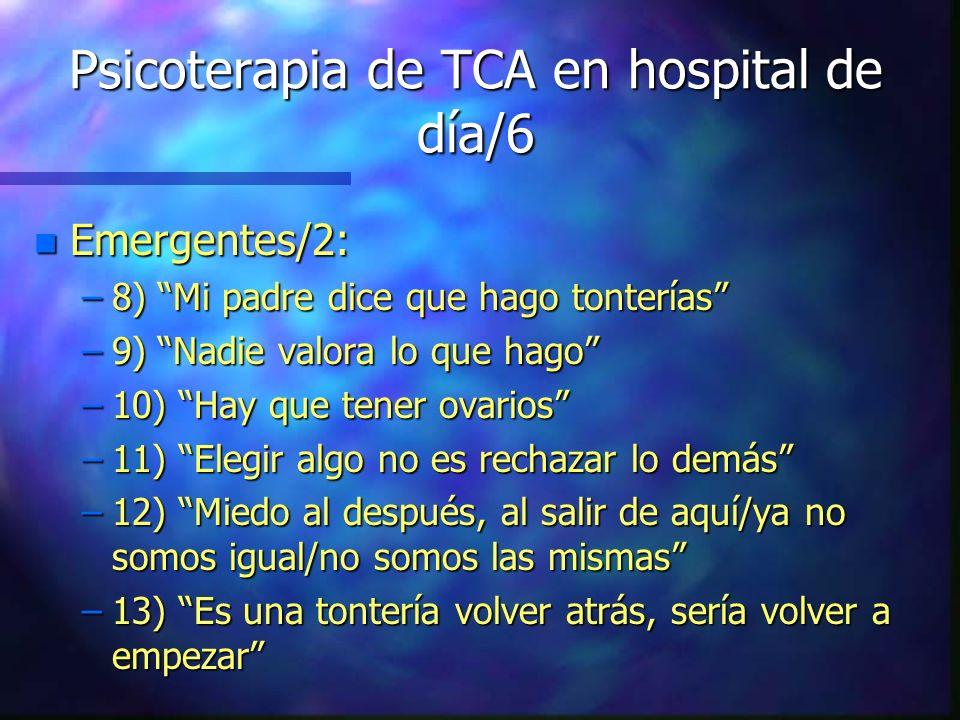 Psicoterapia de TCA en hospital de día/6 n Emergentes/2: –8) Mi padre dice que hago tonterías –9) Nadie valora lo que hago –10) Hay que tener ovarios