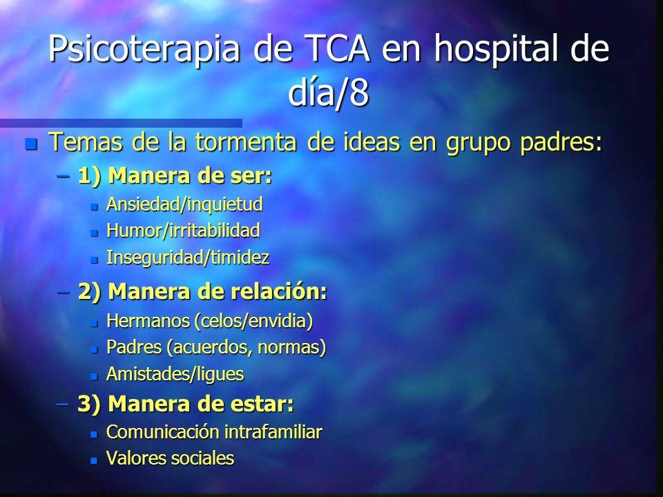 Psicoterapia de TCA en hospital de día/8 n Temas de la tormenta de ideas en grupo padres: –1) Manera de ser: n Ansiedad/inquietud n Humor/irritabilida