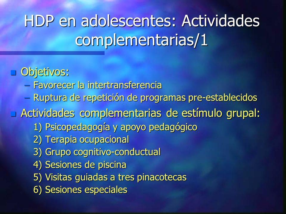 HDP en adolescentes: Actividades complementarias/1 n Objetivos: –Favorecer la intertransferencia –Ruptura de repetición de programas pre-establecidos