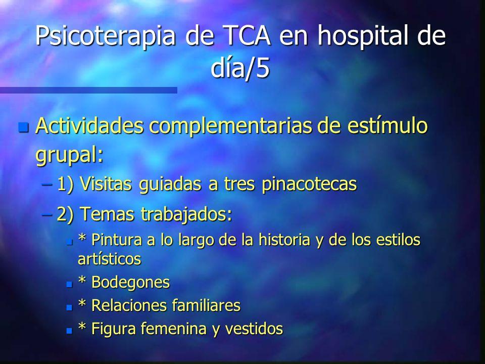 Psicoterapia de TCA en hospital de día/5 n Actividades complementarias de estímulo grupal: –1) Visitas guiadas a tres pinacotecas –2) Temas trabajados