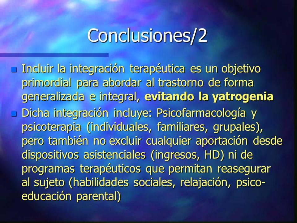 Conclusiones/2 n Incluir la integración terapéutica es un objetivo primordial para abordar al trastorno de forma generalizada e integral, evitando la