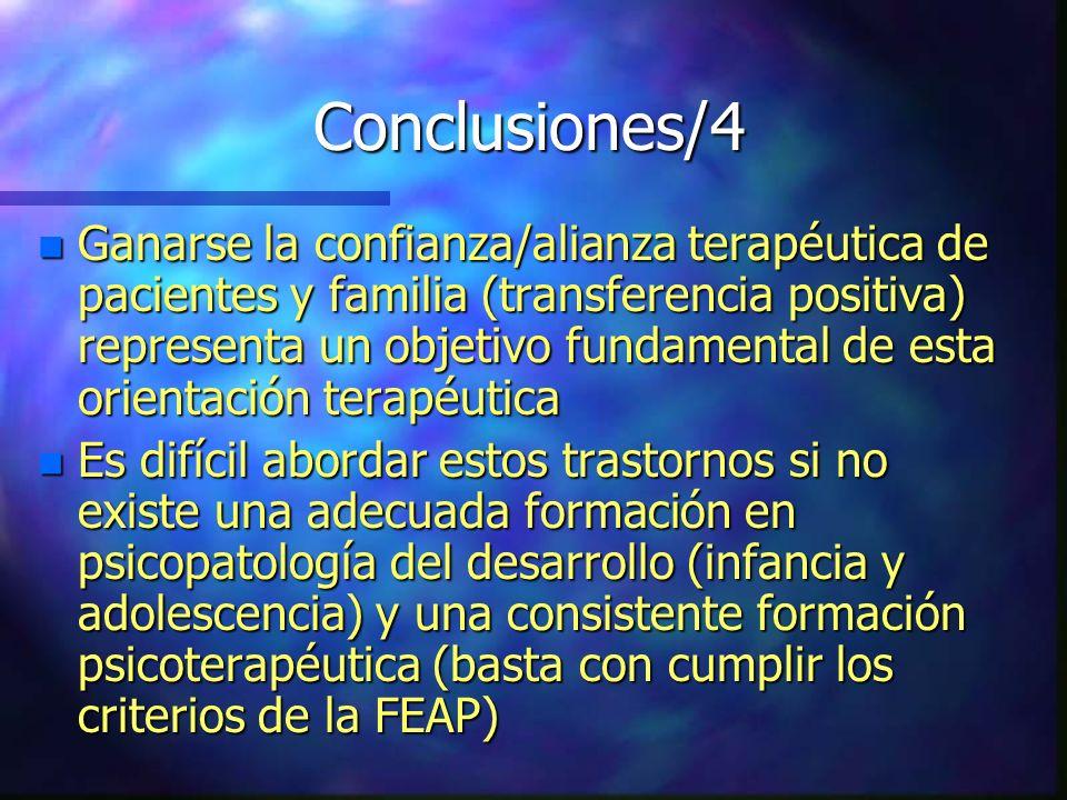 Conclusiones/4 n Ganarse la confianza/alianza terapéutica de pacientes y familia (transferencia positiva) representa un objetivo fundamental de esta o