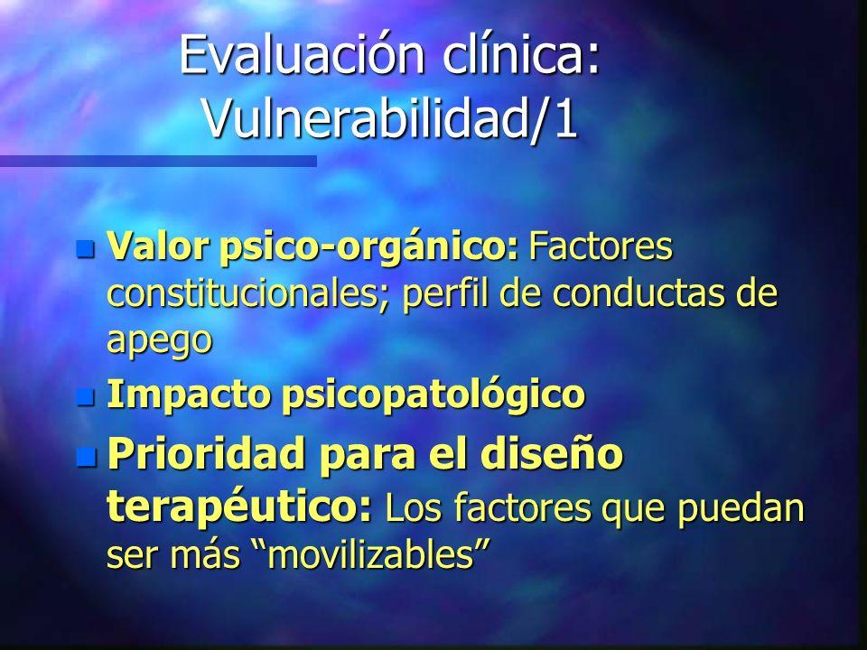 Evaluación clínica: Vulnerabilidad/1 n Valor psico-orgánico: Factores constitucionales; perfil de conductas de apego n Impacto psicopatológico n Prior