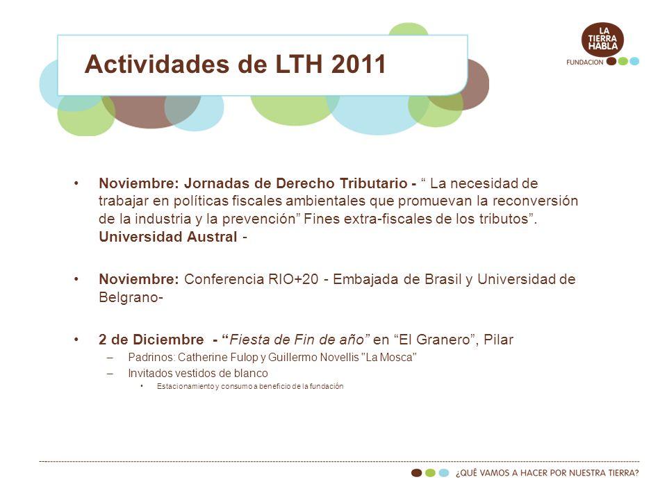 Noviembre: Jornadas de Derecho Tributario - La necesidad de trabajar en políticas fiscales ambientales que promuevan la reconversión de la industria y la prevención Fines extra-fiscales de los tributos.