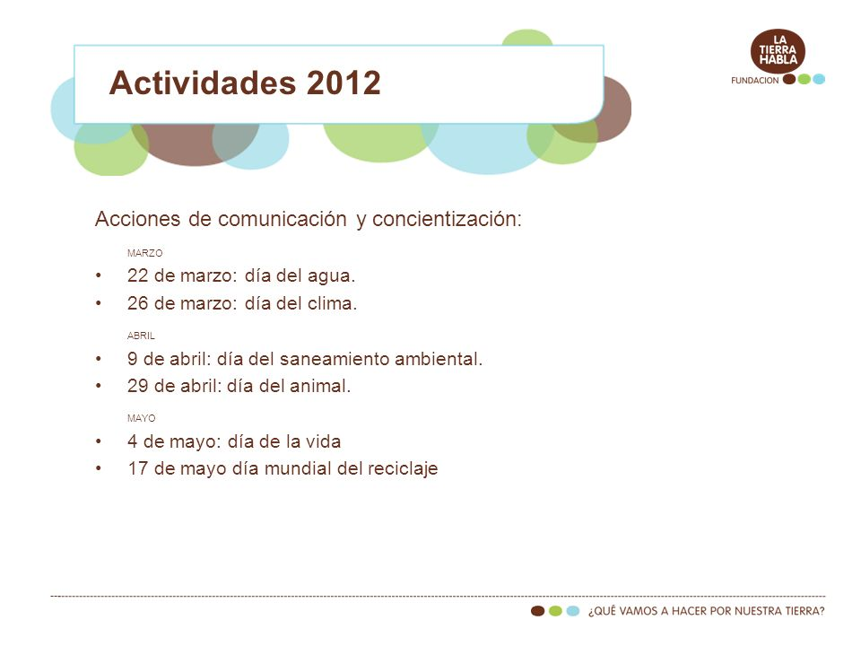 Actividades 2012 Acciones de comunicación y concientización: MARZO 22 de marzo: día del agua. 26 de marzo: día del clima. ABRIL 9 de abril: día del sa