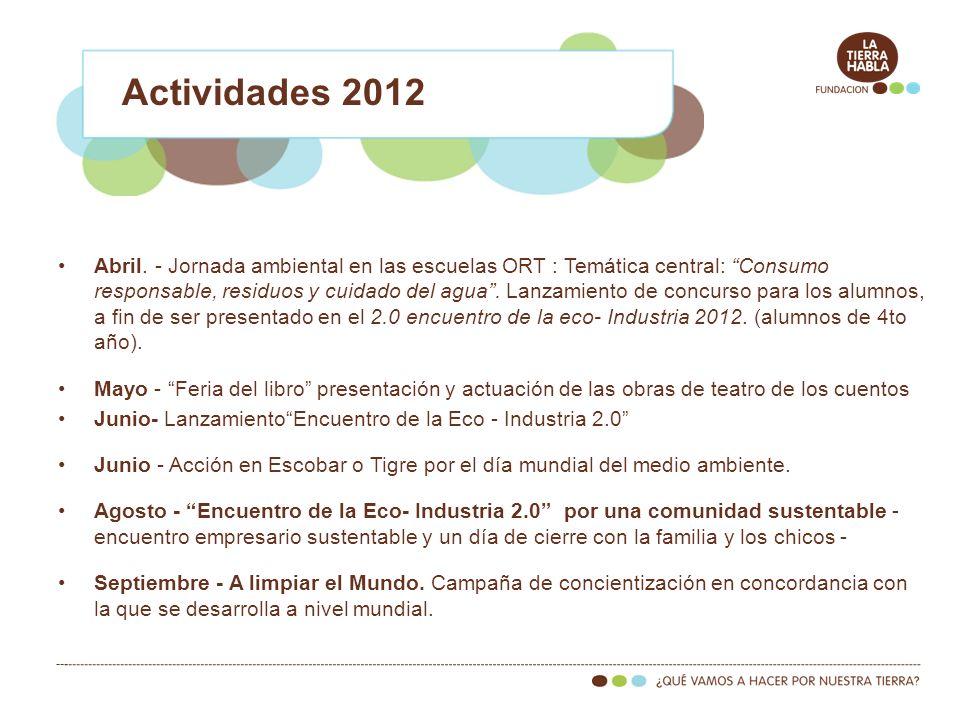 Abril. - Jornada ambiental en las escuelas ORT : Temática central: Consumo responsable, residuos y cuidado del agua. Lanzamiento de concurso para los