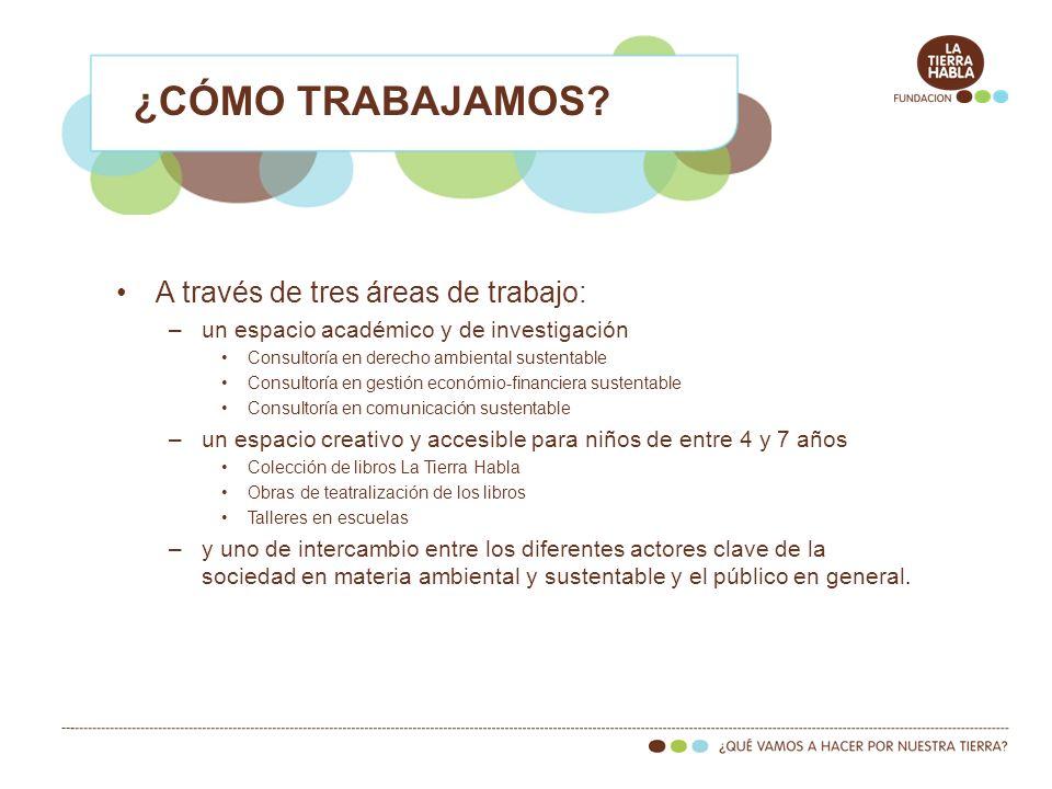 A través de tres áreas de trabajo: –un espacio académico y de investigación Consultoría en derecho ambiental sustentable Consultoría en gestión económ