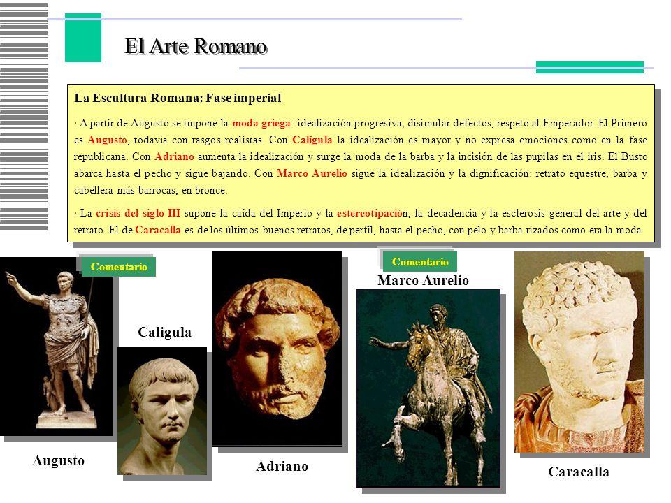 El Arte Romano La Escultura Romana: Fase imperial · A partir de Augusto se impone la moda griega: idealización progresiva, disimular defectos, respeto