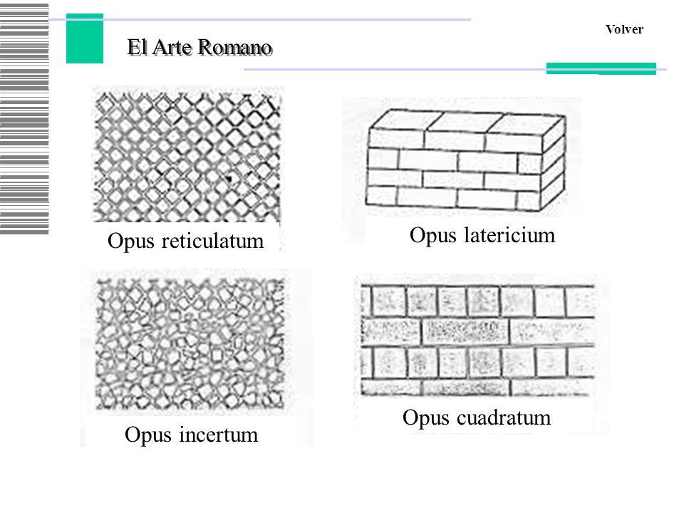 El Arte Romano Volver Opus reticulatum Opus latericium Opus incertum Opus cuadratum