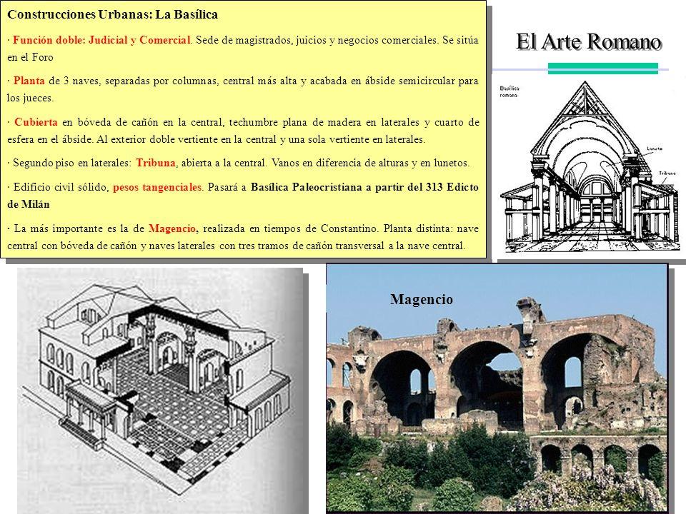 El Arte Romano Construcciones Urbanas: La Basílica · Función doble: Judicial y Comercial. Sede de magistrados, juicios y negocios comerciales. Se sitú