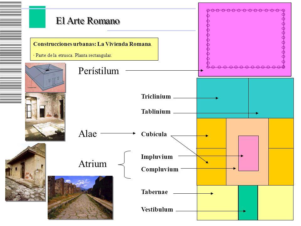 El Arte Romano Construcciones urbanas: La Vivienda Romana. · Parte de la etrusca. Planta rectangular. Vestibulum Tabernae Atrium Compluvium Impluvium