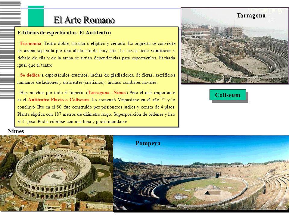 El Arte Romano Edificios de espectáculos : El Anfiteatro · Fisonomía: Teatro doble, circular o elíptico y cerrado. La orquesta se convierte en arena s