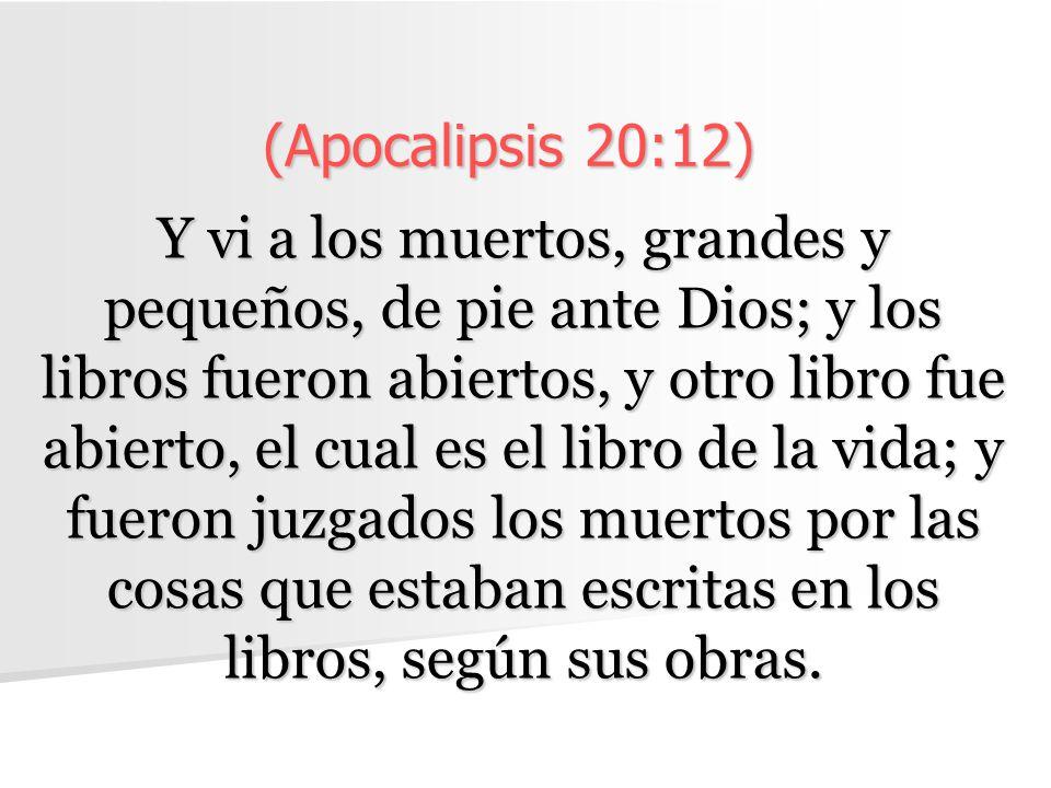 (Apocalipsis 20:12) Y vi a los muertos, grandes y pequeños, de pie ante Dios; y los libros fueron abiertos, y otro libro fue abierto, el cual es el li