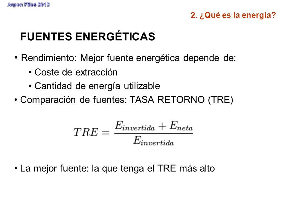 FUENTES ENERGÉTICAS Rendimiento: Mejor fuente energética depende de: Coste de extracción Cantidad de energía utilizable Comparación de fuentes: TASA R