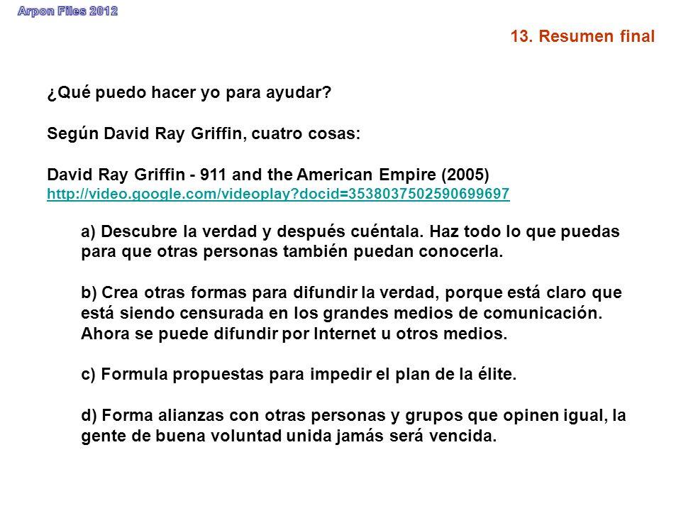 ¿Qué puedo hacer yo para ayudar? Según David Ray Griffin, cuatro cosas: David Ray Griffin - 911 and the American Empire (2005) http://video.google.com