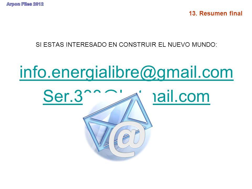 SI ESTAS INTERESADO EN CONSTRUIR EL NUEVO MUNDO: info.energialibre@gmail.com Ser.333@hotmail.com
