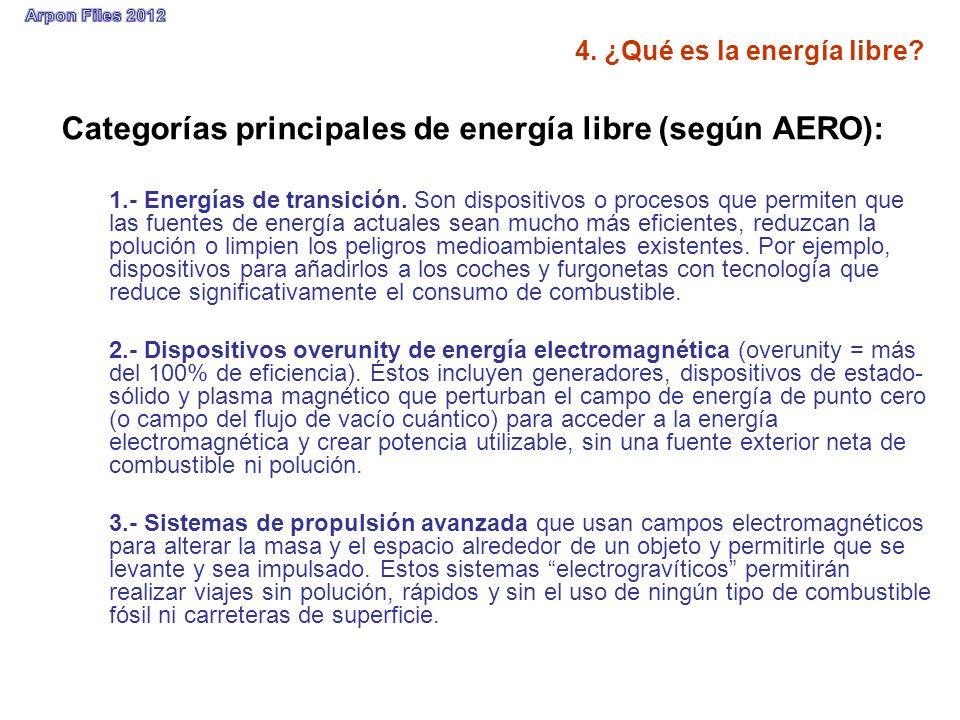 Categorías principales de energía libre (según AERO): 1.- Energías de transición. Son dispositivos o procesos que permiten que las fuentes de energía