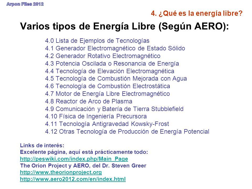 4. ¿Qué es la energía libre? Varios tipos de Energía Libre (Según AERO): 4.0 Lista de Ejemplos de Tecnologías 4.1 Generador Electromagnético de Estado