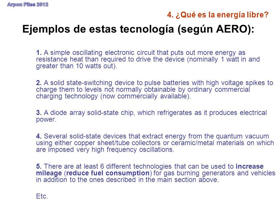 4. ¿Qué es la energía libre? Ejemplos de estas tecnología (según AERO): 1. A simple oscillating electronic circuit that puts out more energy as resist