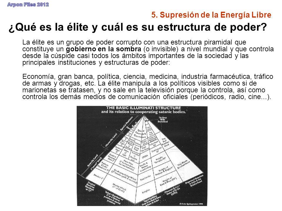5. Supresión de la Energía Libre ¿Qué es la élite y cuál es su estructura de poder? La élite es un grupo de poder corrupto con una estructura piramida
