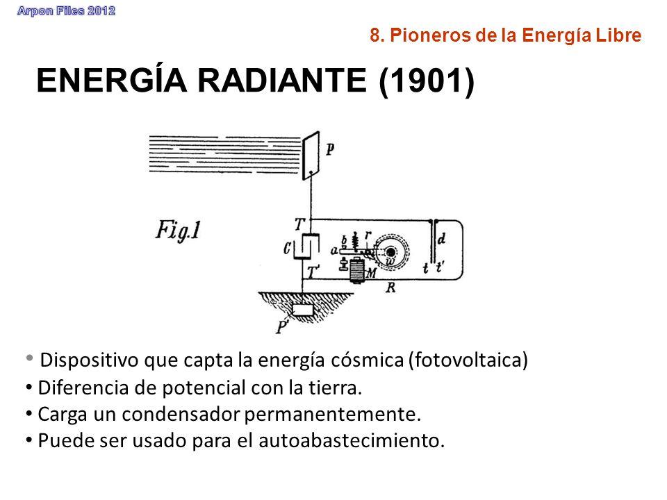 ENERGÍA RADIANTE (1901) Dispositivo que capta la energía cósmica (fotovoltaica) Diferencia de potencial con la tierra. Carga un condensador permanente