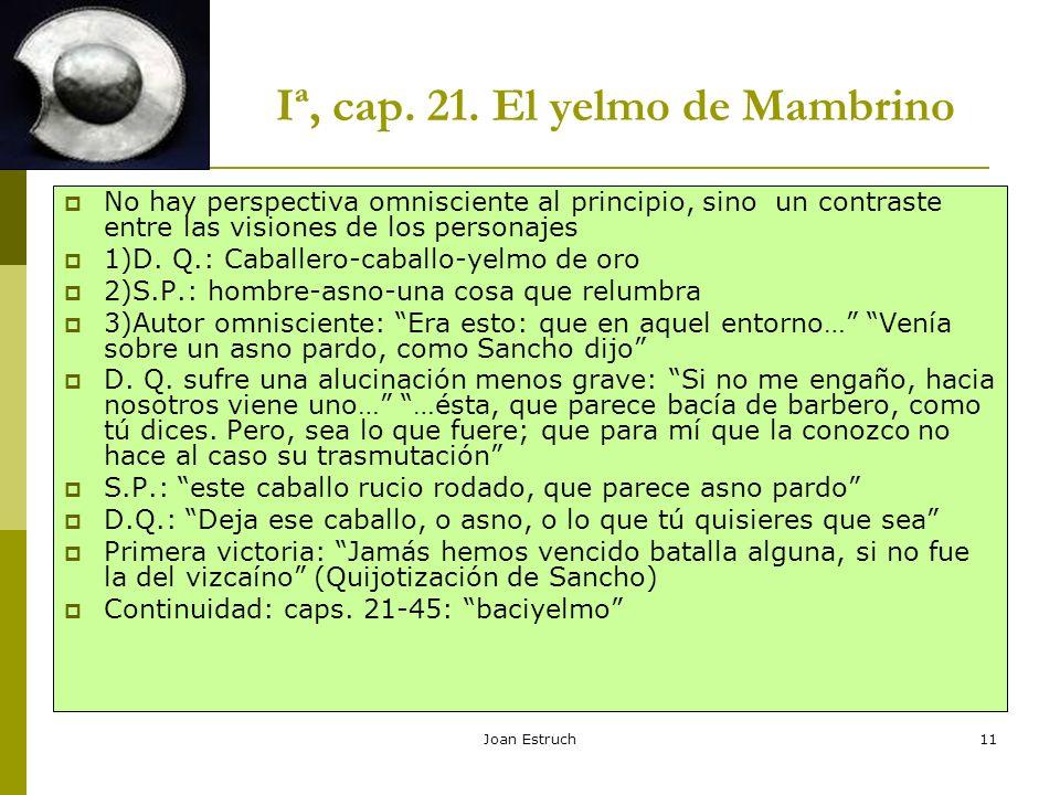 Joan Estruch11 Iª, cap. 21. El yelmo de Mambrino No hay perspectiva omnisciente al principio, sino un contraste entre las visiones de los personajes 1